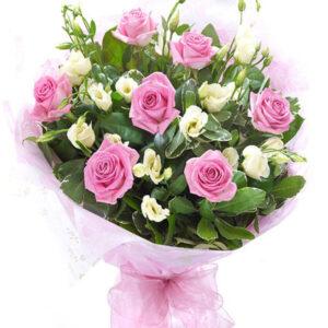 Букет из роз и эустомы №117