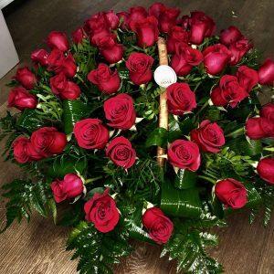 Корзина красных роз 51 шт