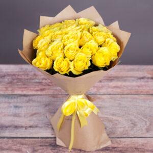 Желтая роза Пени Лайн 25 штук