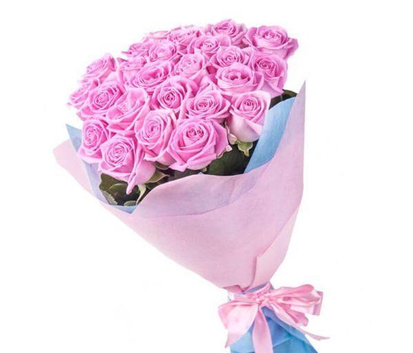 Розовая роза Аква 50 см 35 штук