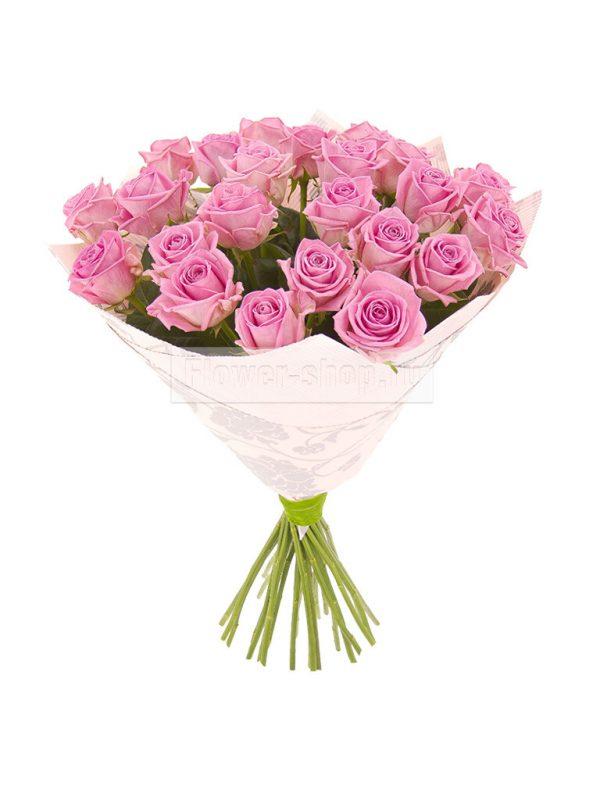 Розовая роза Аква 70 см 25 штук