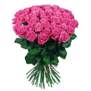Розовая роза Аква 60 см 35 штук