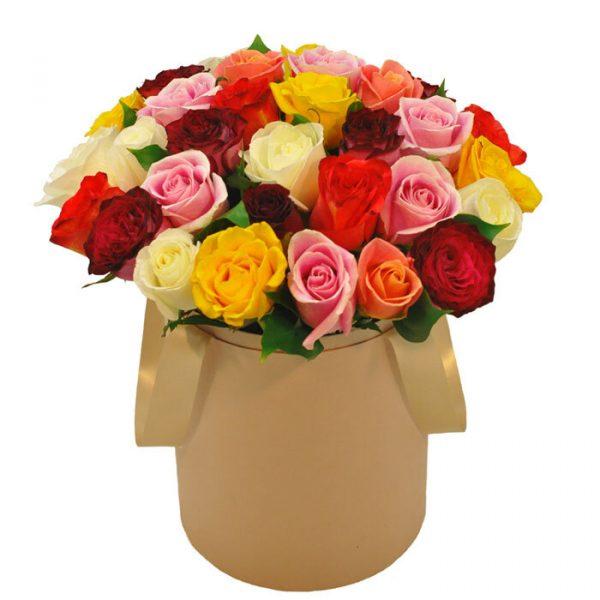 Цветочный микс в шляпной коробке