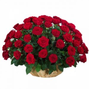 101 красную розу в корзине