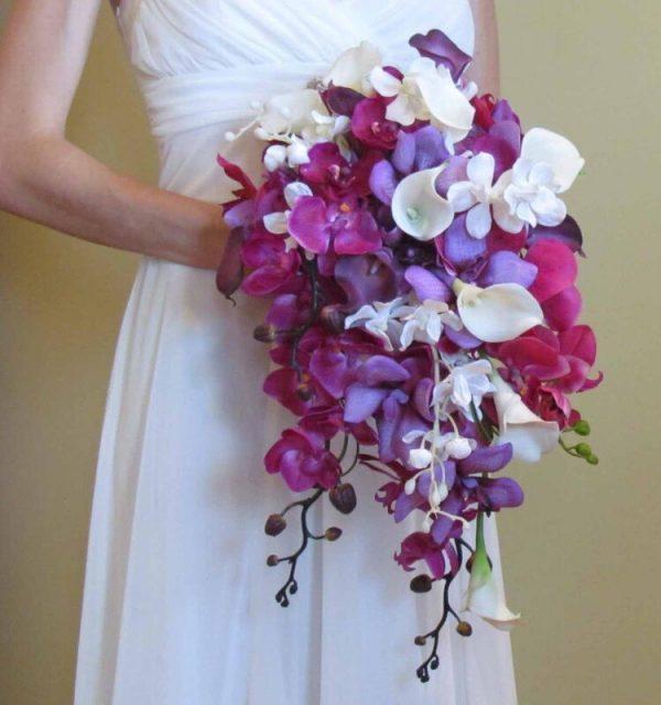 """Свадебный каскадный букет невесты """"Дикая орхидея"""""""