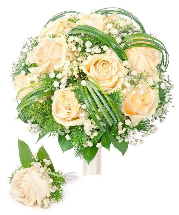 """Свадебный букет невесты с бутоньеркой """"Нежность кремовая"""""""