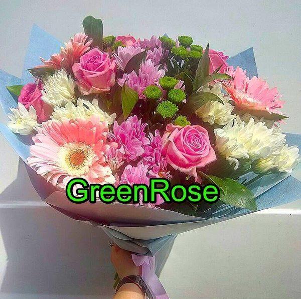 Букет из гербер и роз №120