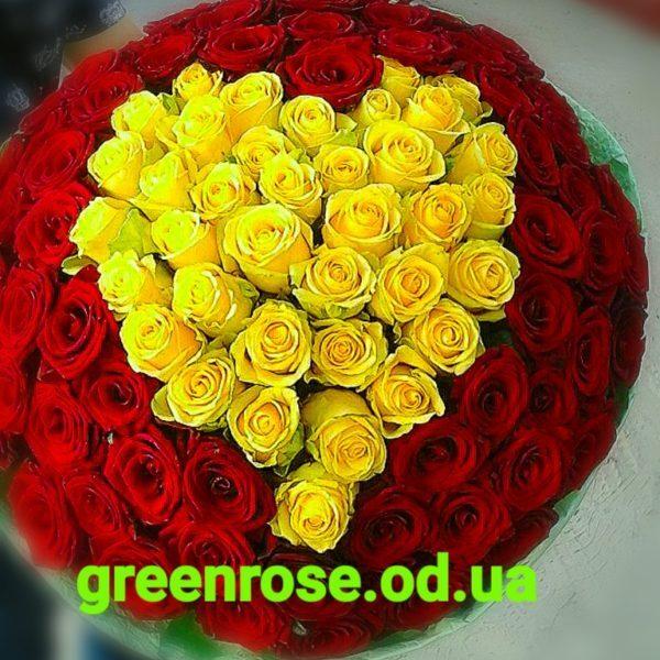 роза красная и желтая - 101 штука
