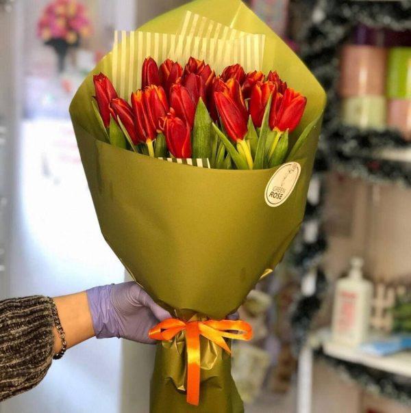 Букет 25 тюльпанов № 129