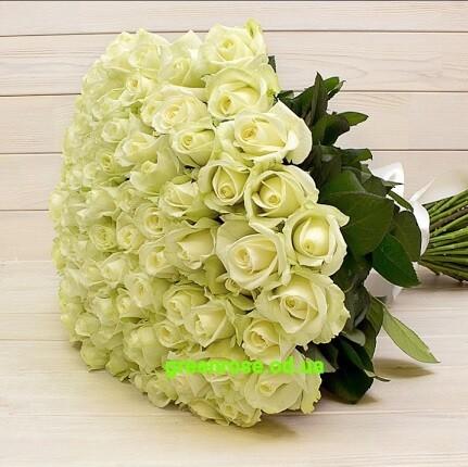 101 белая роза 50 см