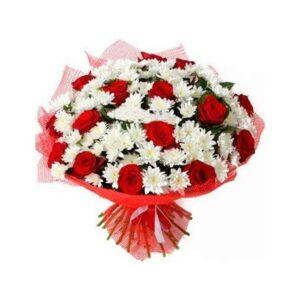 роза красная - 15 шт, хризантема