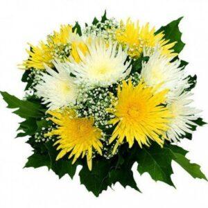 хризантема штучная 11 штук, гипсофил