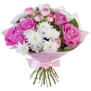 роза 9 шт, спрей 1 шт, хризантема 3 шт