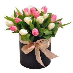 21 тюльпан в коробке № 19