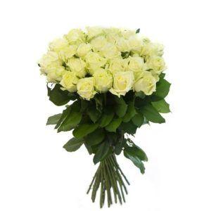 Роза белая 80 см 25 штук