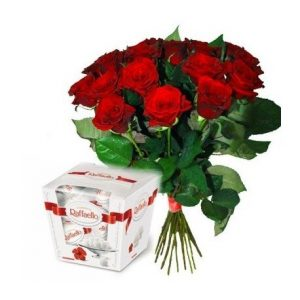 Красная роза 15 и Рафаелло