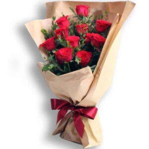 Букет из красных роз в корейском стиле № 162
