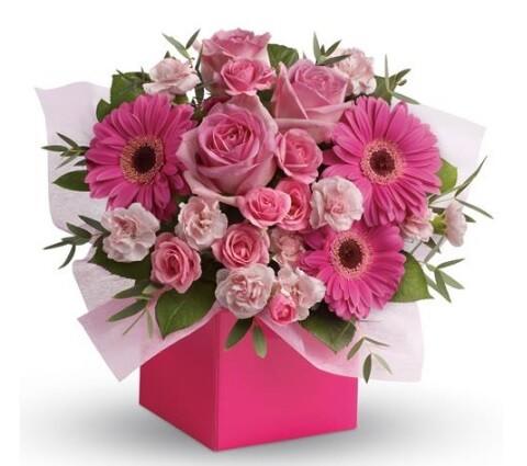 гербера - 3 шт, роза - 3 шт, кустовая роза и гвоздика, фисташка, рускус, коробка