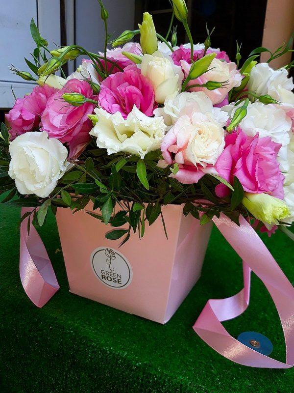 Эустома в конусе Розовое настроение