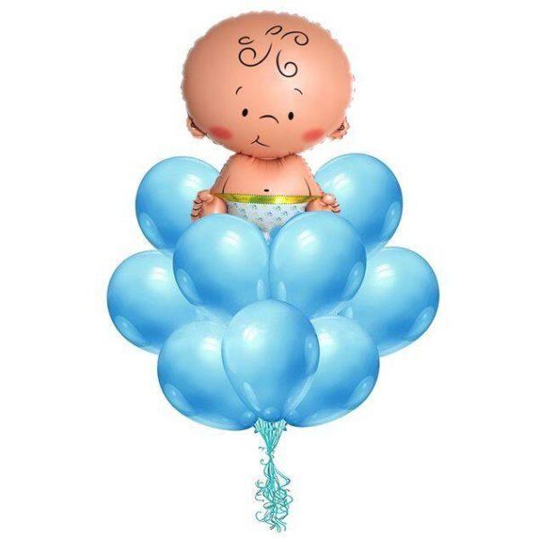 набор синих шаров для новорожденных