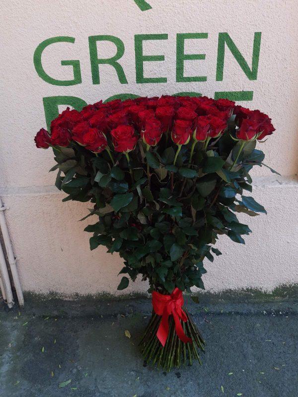 51 эквадорская роза красная 80см