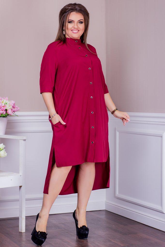 Стильное-платье-рубашка-бордовое-8244