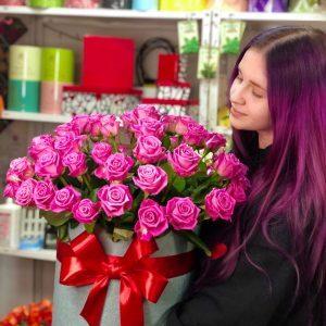 Коробка гигант из розовых роз