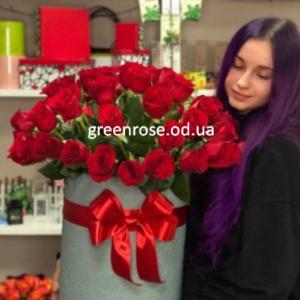 Коробка гигант из красных роз 51 шт