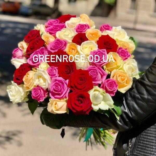 51 роза микс белая+красная + желтая + розовая